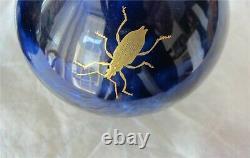 Sevres Porcelain Vase x 2 Royal Blue Cobalt Gold Insects Antique Superb 1848