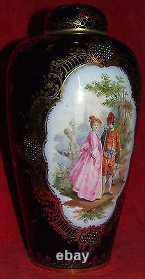 Signed Dresden Lidded Urn Vase Cobalt & Gold Hand Painted Victorian Germany