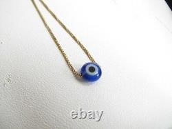 Solid 14K Gold Evil Eye Necklace with Tiny Small Cobalt Blue Murano Bead, Dainty