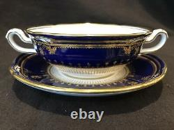 Spode Lancaster Cobalt Footed Cream Soup Bowl and Saucer Blue Gold Encrusted
