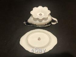 Spode Lancaster Cobalt Gravy Sauce Boat and Underplate Tray Blue Gold Encrusted