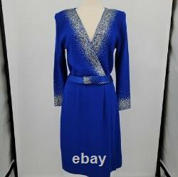 St. John Evening Cobalt Blue Santana Knit Silver Gold Embellished Dress 12