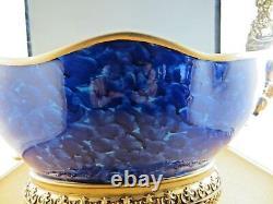 Stunning Cobalt Blue Elaborate Gold Ship Prow Maiden Figurehead Centerpiece Bowl