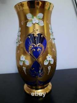 Stunning Egermann Czech Bohemian Cobalt Blue Gold Enamel Flowers Large Vase 21cm