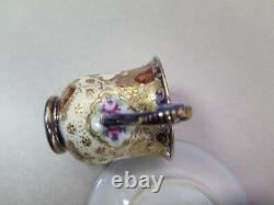 Stunning Vintage Cup And Saucer Flow Blue Cobalt Gold Moriage Pink Roses