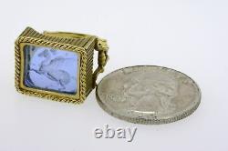 Tagliamonte 18k Gold Ring Cobalt Blue Venetian Glass Pegasus size 5.75