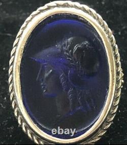 Tagliamonte Sterling Silver Ring Cobalt Blue Venetian Glass Cameo 18k Gold SZ 6
