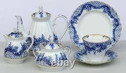 Tea set 6/21 pcs BLUE RHAPSODY Cobalt & 22K-gold, Lomonosov Porcelain, Russia