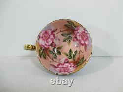 Teacup Saucer Aynsley Cabbage Rose Cobalt Blue Gold Accents Vtg England 2 pcs