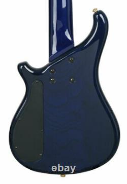 Tune Zi752 5 String Electric Bass Cobalt Blue Gold Ash Notch Filter Barss Nut