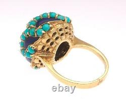 Turquoise Cabochon Cobalt Blue Enamel Cluster 18K Yellow Gold Domed Bombe Ring