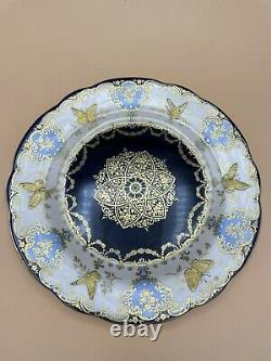 Two RARE Aynsley Cobalt Blue & Gold 8.5 Plates No. 6756 Raised Gold Butterflies
