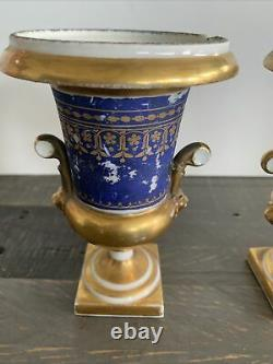 Urns (2) Antique Cobalt Blue Gold Porcelain Very Old Two Piece Lion Heads Handle