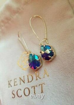 VERY RARE Kendra Scott Iridescent Cobalt Cathy Earrings In Gold