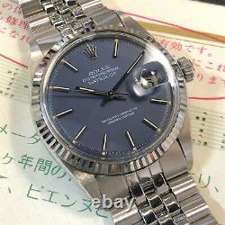 VINTAGE ROLEX DATEJUST 36MM 1601 18K WHITE GOLD/ STEEL COBALT BLUE DIAL WithPAPERS