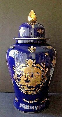 VTG Fine Porcelain 25 Tall Lidded Urn Vase Victorian Couple Cobalt Blue & Gold