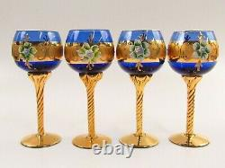 Venetian Murano Glass Wines Cobalt Blue with Heavy Gold Stems Set of 4 I002