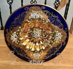 Venetian Murano Hand Painted With 24k Gold Layer Cobalt Glass Victorian Plate