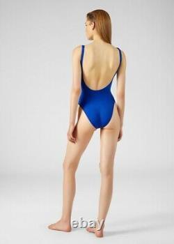 Versace NWT NEW Cobalt Blue Sold Out Gold Metallic Bikini Swimsuit US 4 S RARE