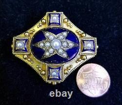 Victorian 18 Karat yellow Gold Cobalt Blue Enamel Pearl Mourning Brooch Jewelry