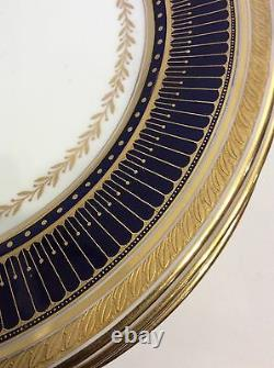 Vintage 12 Cauldon England Dinner Plates Excellent Conditions Cobalt Blue Gold