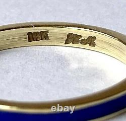 Vintage 14K Yellow Gold Cobalt Blue Guilloche Enamel Band Stacker Ring Sz 7.25