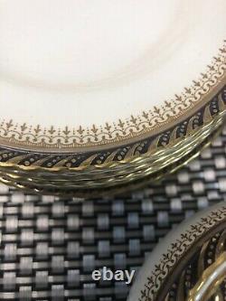 Vintage 56 Piece Set Crown Ducal Ware Athena Cobalt Blue & Gold China England