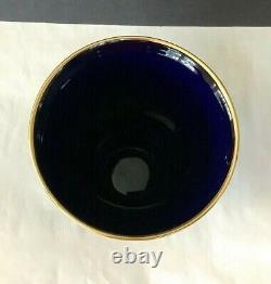 Vintage 70s Veritable Limoges Fragonard France Cobalt Blue/Gold 9 Tall Vase