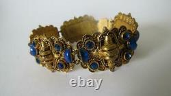 Vintage Art Deco Max Neiger Czech Cobalt Blue Glass Gold Panel Revival Bracelet
