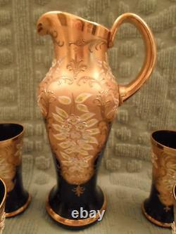 Vintage Bohemian Czech Cobalt Blue Glass Gold Raised Enamel Water Set BEAUTIFUL