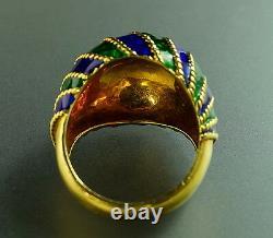 Vintage Cobalt Blue Green Enamel 18K Yellow Gold Domed 1960 Vintage Retro Ring 6