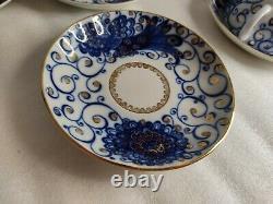 Vintage Coffee Tea Set Lomonosov 6 persons Cup & Saucer Cobalt & Gold