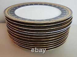 Vintage Davis Collamore & Co Cobalt Blue And Gold Trim Salad Plates (12)