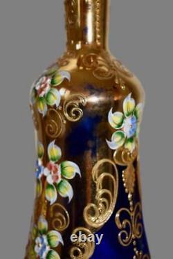 Vintage Murano Gold Cobalt Venetian Glass Enameled Liquor Set 10 Glasses