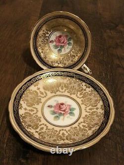 Vintage Paragon Cobalt navy Blue Gold Gilt Cabbage Rose Teacup and Saucer