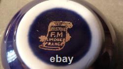 Vintage Sm Round Cobalt Blue/gold Lovers Limoges French Porcelain Trinket Box