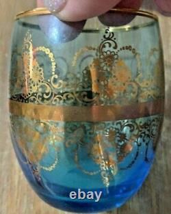 Vintage Venetian Glass Decanter with 6 Glasses Cobalt Blue with 22K Gold Trim