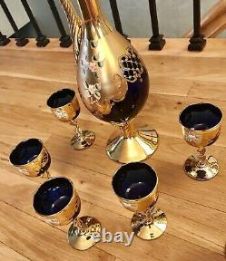 Vintage Venetian Murano Hand Painted With 24k Gold Cobalt Blue Glass Wine Set