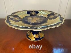 Vintage WEIMAR Jutta Cobalt Blue/Gold Porcelain Footed Cake Stand Pedestal Plate