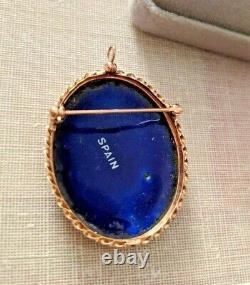 Vintage fleur de Lis 14k gold brooch pendant Spain Cobalt blue enamel porcelain