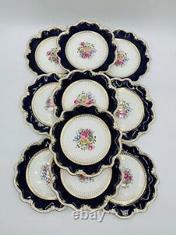 Vtg COALPORT Cobalt Blue & Gold dinner plates 9.2 Botanical Never used! England