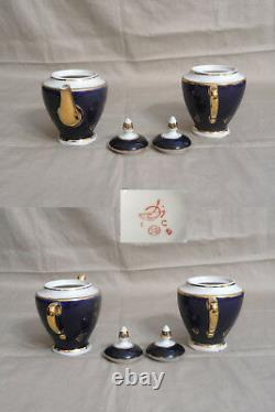 Vtg PORCELAIN COBALT BLUE & GOLD TEA SET 6 Cups & Saucers, Creamer & Sugar Bowl