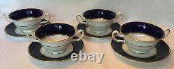 Wedgwood Piccadilly Cobalt Footed Cream Soup Bowl Saucer Set of 4 Gold Backstamp