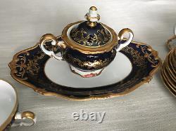 Weimar Katharina Cobalt Blue Gold (20003) Full Dinner Set (8people)