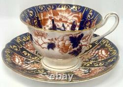 Wileman Shelley Japan Daisy Cobalt Gold Imari Teacup Tea cup Saucer 6888 Pat