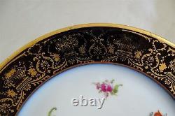 Wm. Guerin & Co. Limoges France 6 Dinner Plates Cobalt Gold Floral