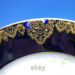 Wm Guerin & Co Limoges France Gold Cobalt Blue 12 Dinner Plates 9¾ inches
