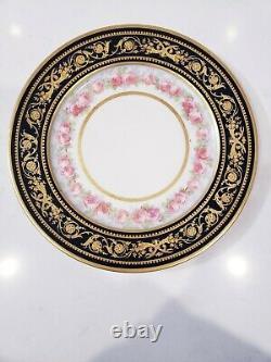 Wm Guerin Limoges France Set Of 12 Dinner Plate Cobalt Blue Encrusted Gold