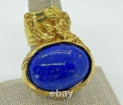 Yves Saint Laurent YSL Cobalt Blue Fleck Gold ARTY Chunky Huge Cabochon Ring 6