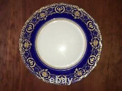 10 Royal Doulton Antique Cobalt Blue And Raised Gold Incrusted Dinner Plates